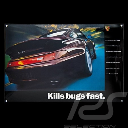 Porsche Enamel plate 911 Turbo type 993 Kills bugs fast 40 x 60 cm PCG00099310
