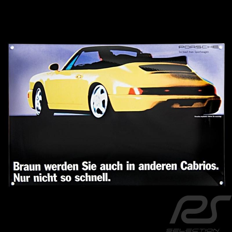 Porsche Enamel plate 911 Cabrio type 964 yellow 40 x 60 cm PCG00092810
