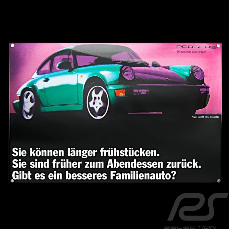 Plaque émaillée Porsche 911 Carrera type 964 verte 40 x 60 cm PCG00096420