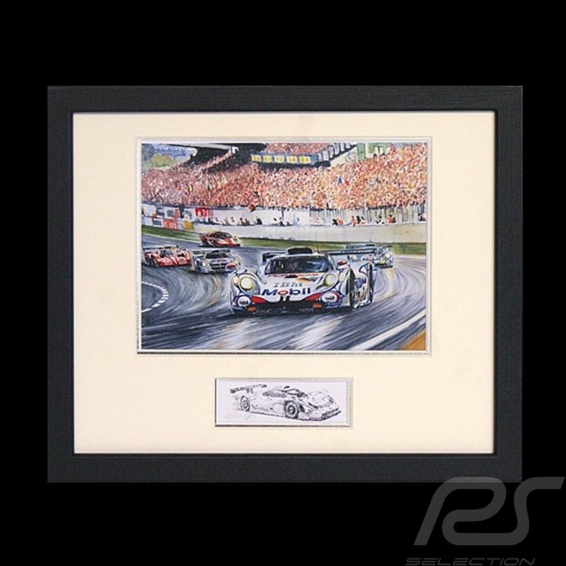 Porsche 911 GT1 vainqueur Le Mans 1998 cadre bois noir avec esquisse noir et blanc Edition limitée Uli Ehret - 201