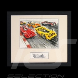 Porsche 917 / 30 Canam monsters wood frame aluminum with black and white sketch Limited edition Uli Ehret - 227