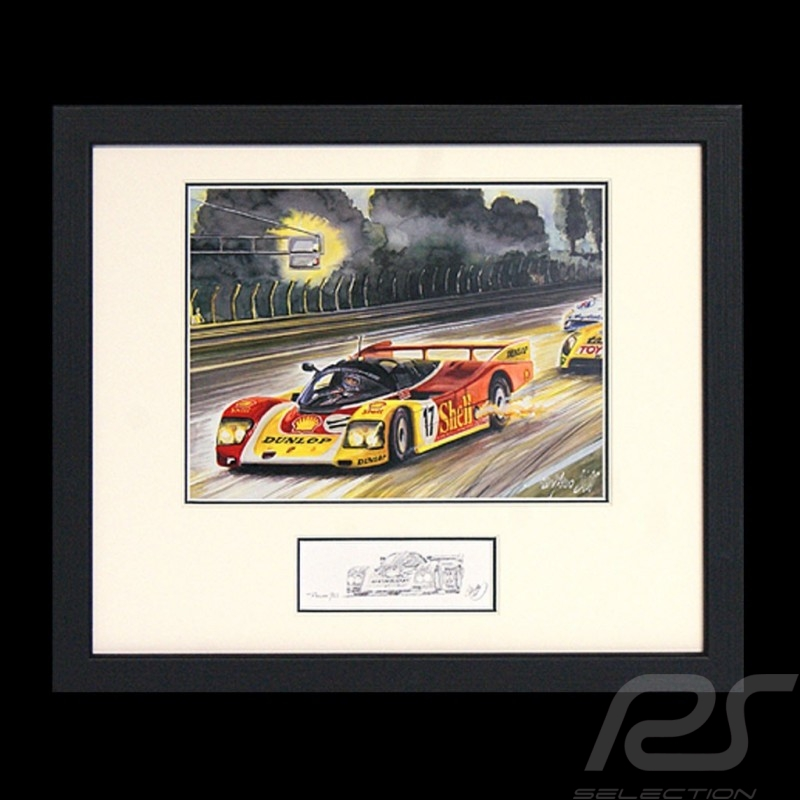 Porsche 962 C n° 17 Shell night race wood frame black with black and white sketch Limited edition Uli Ehret - 258