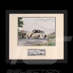 Porsche Poster 911 2.0 P. und J. M. Bussolini Schwarz Rahmen mit Schwarz-Weiß Skizze Limitierte Auflage Uli Ehret - 285