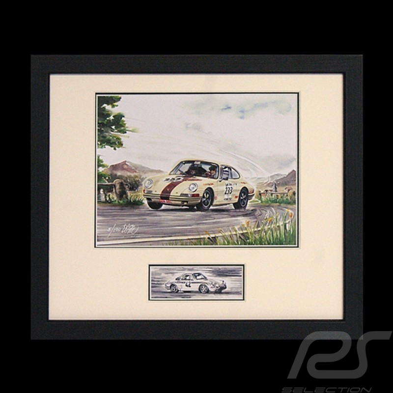 Porsche 911 2.0 Patricia and Jean-Marc Bussolini wood frame black with black and white sketch Limited edition Uli Ehret - 285