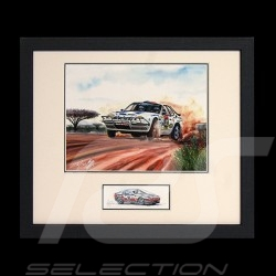 Porsche 924 Safari wood frame black with sketch Limited edition Uli Ehret - 286