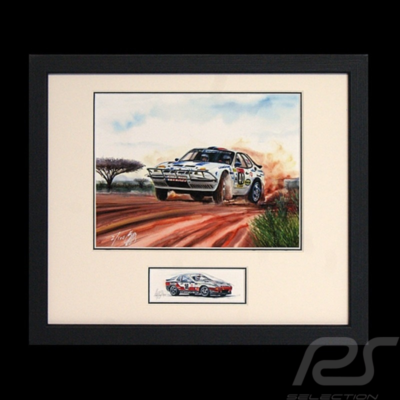 Porsche 924 Safari wood frame black with sketch Limited edition Uli Ehret - 286