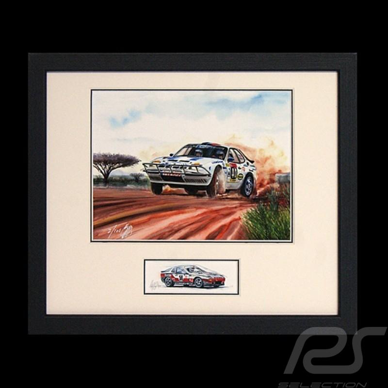 Porsche Poster 924 Safari Schwarz Rahmen mit Skizze Limitierte Auflage Uli Ehret - 286
