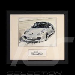 Porsche 911 type 996 Turbo weiß Schwarz Holzrahmen mit Schwarz-Weiß Skizze Limitierte Auflage Uli Ehret - 104B