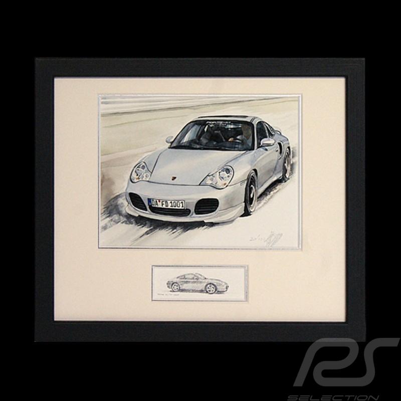 Porsche 911 type 996 Turbo blanche cadre bois noir avec esquisse noir et blanc Edition limitée Uli Ehret - 104B