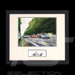 Porsche 917 K Gulf n° 21 et 22 LM under the rain black wood frame with black and white sketch Limited edition Uli Ehret - 111