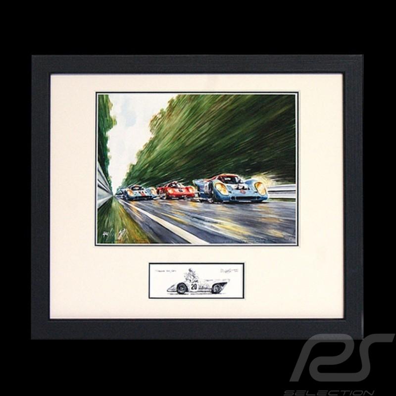 Porsche 917 K Gulf n° 21 et 22 LM under the rain black wood frame with black and white sketch Limited edition Uli Ehret - 111