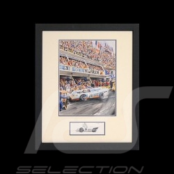 Porsche 917 k Gulf n° 20 LM 1970 Siffert McQueen black wood frame with black and white sketch Limited edition Uli Ehret - 318