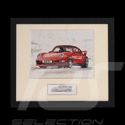 Porsche 964 RS 3.8 red black wood frame with black and white sketch Limited edition Uli Ehret - 322