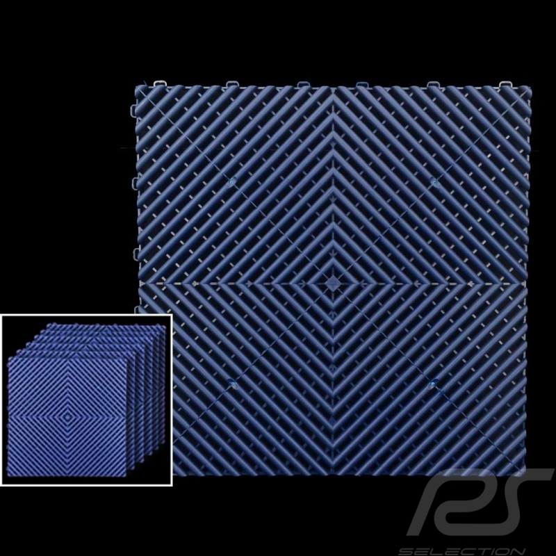 Garage floor tiles Premium quality Navy blue Pantone295C German-made - 20 years warranty - Set of 6 tiles of 40 x 40 cm