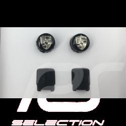 Porsche valve cap black / grey logo - set of 4 - Porsche Original 99104460265