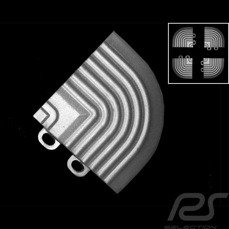 Schräger Geländeranschlusswinkel für Premium-Garagenplatten - Farbe Weiss-alu grau RAL9006 - 4er-Satz