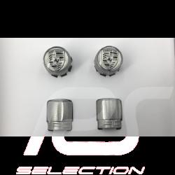 Bouchon de valve Porsche gris / logo gris - lot de 4 - Porsche Original 99104460268 valve cap ventilkappen
