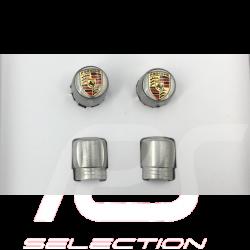 Bouchon de valve Porsche gris / logo couleur - lot de 4 - Porsche Original 99104460269 valve cap ventilkappen