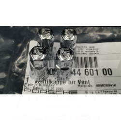 Bouchon de valve Porsche noir / logo couleur - lot de 4 - Porsche Original 99104460267