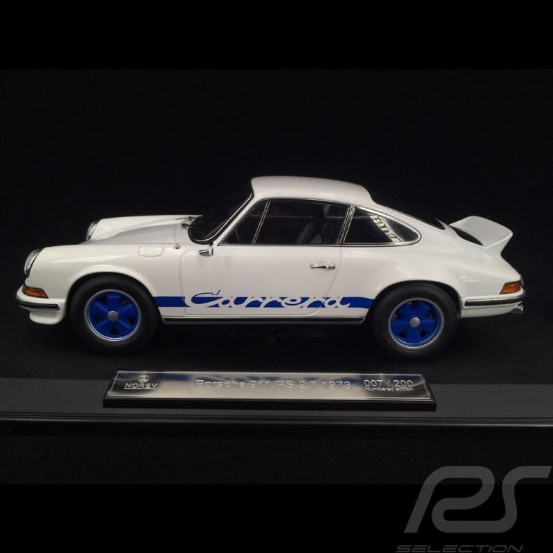 Porsche 911 2.7 Carrera RS 1973 blanche / bandes bleues exemplaire n° 78 / 200 1/18 Norev 187637
