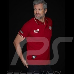 Polo Gulf victoire victory Sieg Le Mans Vintage Rouge Red Rot Merlot homme
