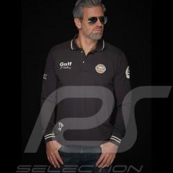 Gulf Le Mans Sieg Vintage Langarm Polo Anthrazit - Herren