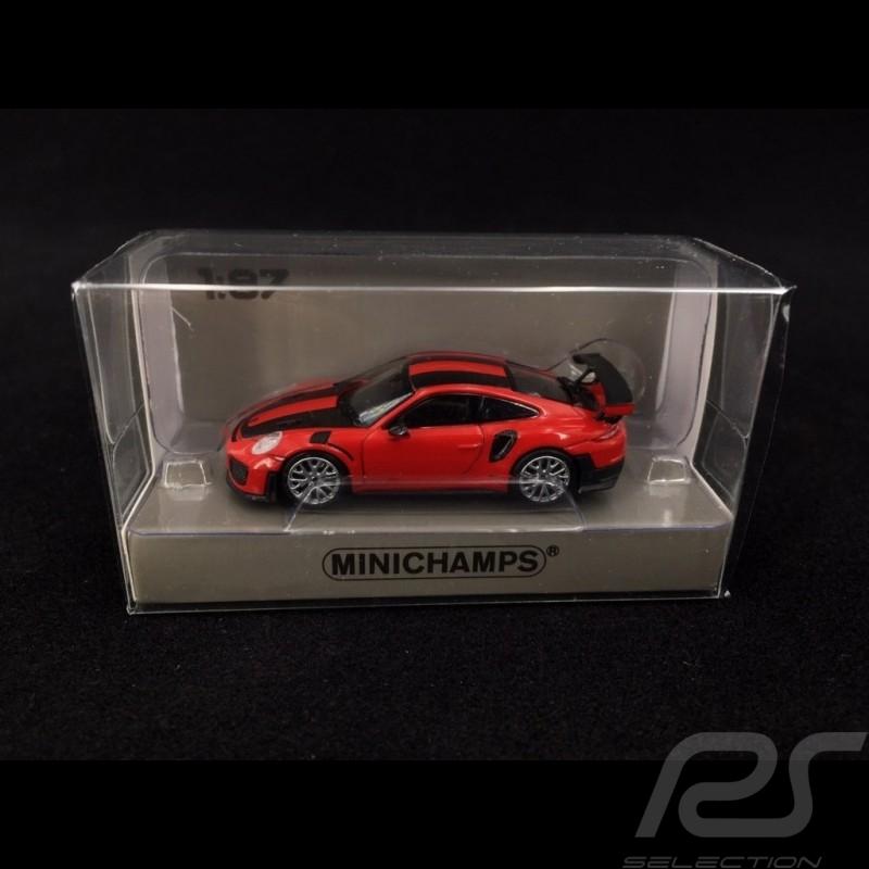 Porsche 911 GT2 RS typ 991 2018 rot / Kohlenstoff 1/87 Minichamps 870068126