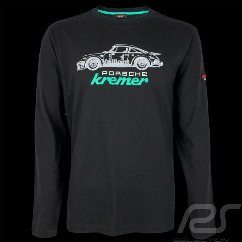 T-shirt Porsche Kremer Racing Porsche 911 Carrera n° 9 Noir Manches longues Long sleeves Lange Armel  - homme