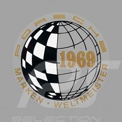 Aufkleber Porsche Marken Weltmeister 1969 für die Innenseite von Gläsern
