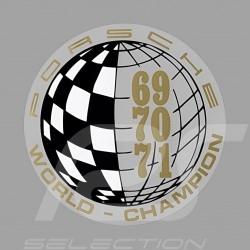 Autocollant Sticker Aufkleber Porsche World Champion 69-70-71 pour l'intérieur de la vitre