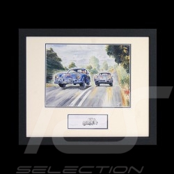 Porsche 356 Carrera and Carrera Abarth wood frame aluminum with black and white sketch Limited edition Uli Ehret - 187