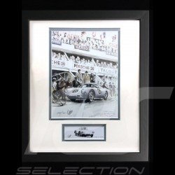 Porsche 550 A RS n° 25 24h du Mans 1958 wood frame aluminum with black and white sketch Limited edition Uli Ehret - 309