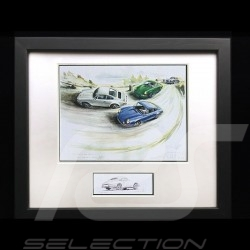 Porsche 911 RS / 911 S / 356 A  Trio wood frame Black with black and white sketch Limited edition Uli Ehret - 315
