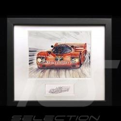 Porsche Poster 956 n° 1 Jagermeister Stefan Bellof Norisring 1984 Schwarz Rahmen mit Skizze Limitierte Auflage Uli Ehret - 294