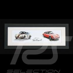 Porsche 911 Classic Straßen- und Rennversionen Alu Holzrahmen 15 x 35 cm Limitierte Auflage Uli Ehret - road + racing versions