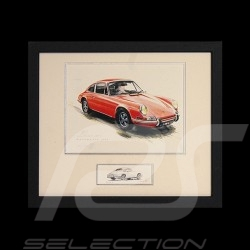 Porsche 911 classical red wood frame black with black and white sketch Limited edition Uli Ehret - 527 rot