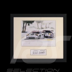 Duo Porsche 911 type 991 RSR Le Mans Arnage wood frame black with black and white sketch Limited edition Uli Ehret - 556