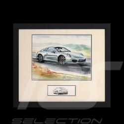 Porsche 911 type 991 Carrera gris argent cadre bois noir avec esquisse noir et blanc Edition limitée Uli Ehret - 593