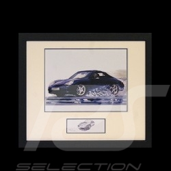 Porsche 911 type 996 Cabrio black wood frame black with black and white sketch Limited edition Uli Ehret - 104