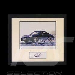 Porsche 911 type 996 Cabrio schwarz Schwarz Rahmen mit Schwarz-Weiß Skizze Limitierte Auflage Uli Ehret - 104