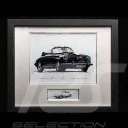 Porsche 356 C Cabriolet schwarz Aluminium Rahmen mit Schwarz-Weiß Skizze Limitierte Auflage Uli Ehret - 139B
