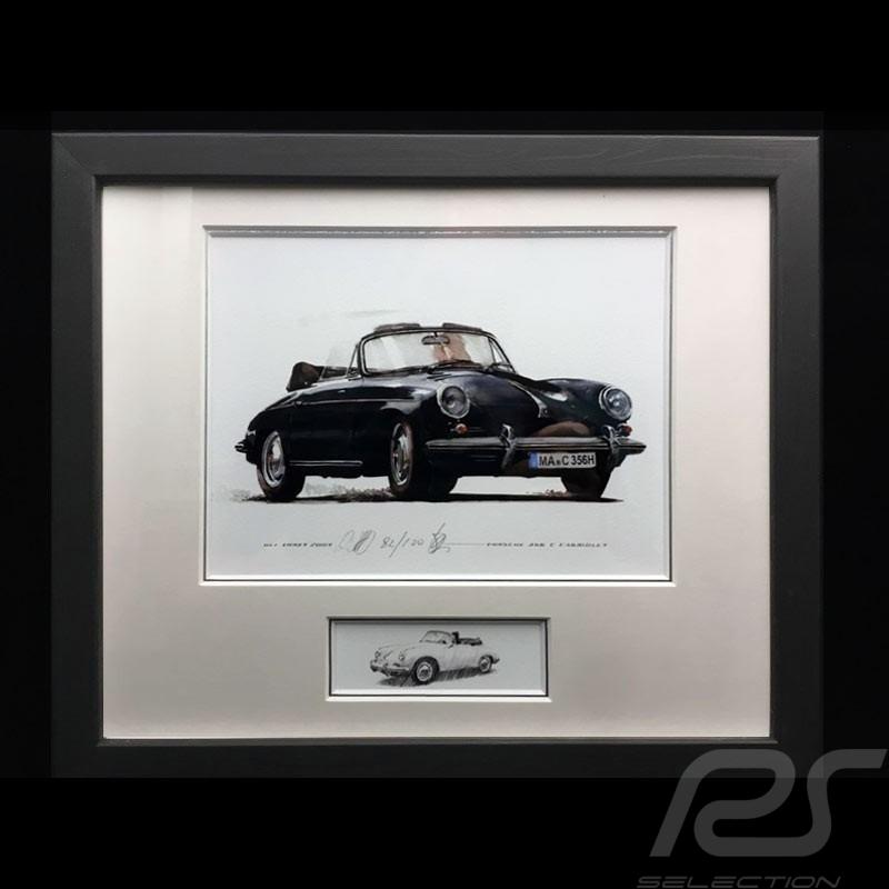Porsche 356 C Cabriolet black wood frame aluminum with black and white sketch Limited edition Uli Ehret - 139B