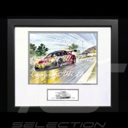 Porsche 911 type 997 RSR Le Mans 2009 n° 30 Black wood frame with black and white sketch Limited edition Uli Ehret - 263