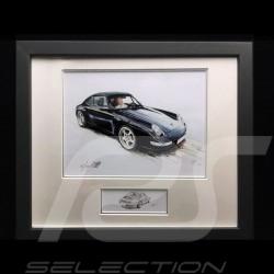 Porsche 911 typ 993 Carrera schwarz Aluminium Rahmen mit Schwarz-Weiß Skizze Limitierte Auflage Uli Ehret - 365