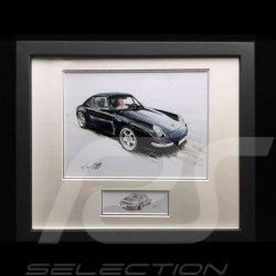 Porsche 911 type 993 Carrera black wood frame aluminum with black and white sketch Limited edition Uli Ehret - 365