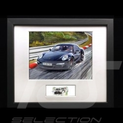 Porsche 911 type 991 Carrera Black wood frame black with black and white sketch Limited edition Uli Ehret - 139