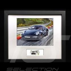 Porsche 911 type 991 Carrera Noir cadre bois noir avec esquisse noir et blanc Edition limitée Uli Ehret - 593