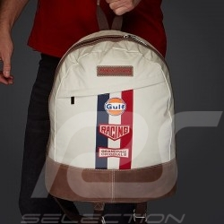 Gulf Backpack bag Steve McQueen Le Mans Beige Cotton / leather
