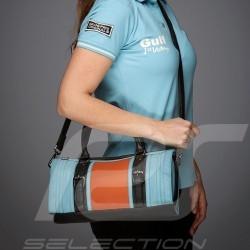 No logo handbag bowling style Gulf blue / orange / black leather