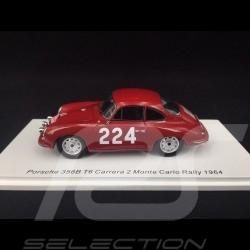 Porsche 356B T6 Carrera 2 n° 224 Rallye Monté Carlo 1964 1/43 Spark S6601
